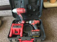 Milwaukee 18v drill and impact gun
