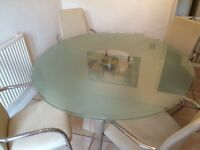 Maskereys Glass table & 4 faux leather chairs