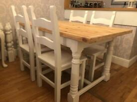 REDUCED - 5ft Shabby Chic Farmhouse Chunky Pine Table and 4 Chairs