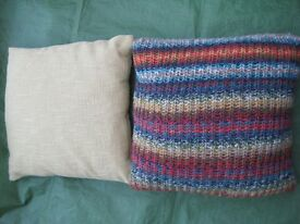 Lime Green Cushion and Multi-Coloured Hand Knitted Cushion - £3.00 each or 2 for £5.00