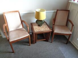 Nathan, Vintage Teak Dining Chairs with 2 Carvers.