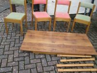 """DINING TABLE AND 4 CHAIRS 5ft x 2ft 6"""" beech with wood laminate top,."""