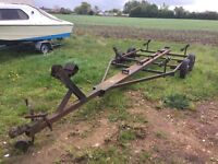 BOAT TRAILER TWIN AXLE IDEAL YARD TRAILER TOWS VERY WELL CAN TAKE UP TO 19FT BOAT
