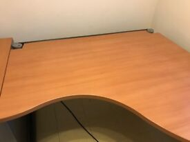 Office Desk - Professional quality. with cable tray, shelf (not show) and mobile 2 cabinet pedestal