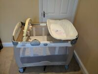Graco Contour Electra Travel Cot (music, 2 speed vibrating bassinet) - Good condition