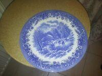 4 Blue & white China Plates, unused