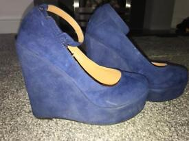 Blue suede wedge heel size 5