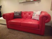 Red leather sofa bed. Never used cost £1300 in september 2016. Nrw home forces sale.