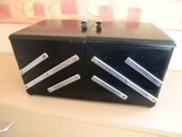 KINGS LYNN- LOVELY ARTS & CRAFTS BLACK & SILVER JEWELERY / SEWING BOX