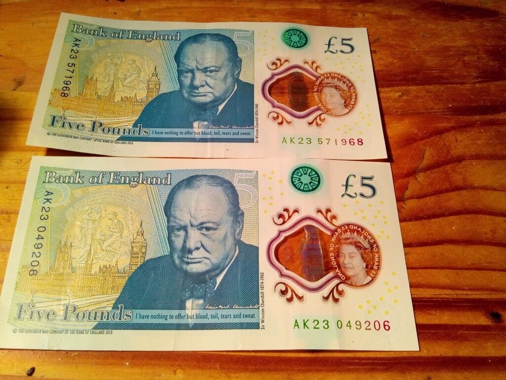 £5 notes selection serial numbers consecutive and AA serial various