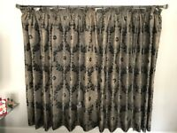 4 x Nearly New Fully Lined Curtains For Sale - Grey/Silver/Black
