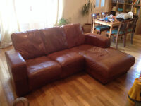 Beautiful leather sofa in a gorgeous colour for sale