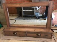 Large wooden mirror with 2 drawers excellent condition