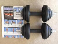York Dumbell Set (cast iron weights), 2 x 10 kg