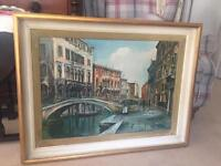 Venice canal scene, oil on canvas