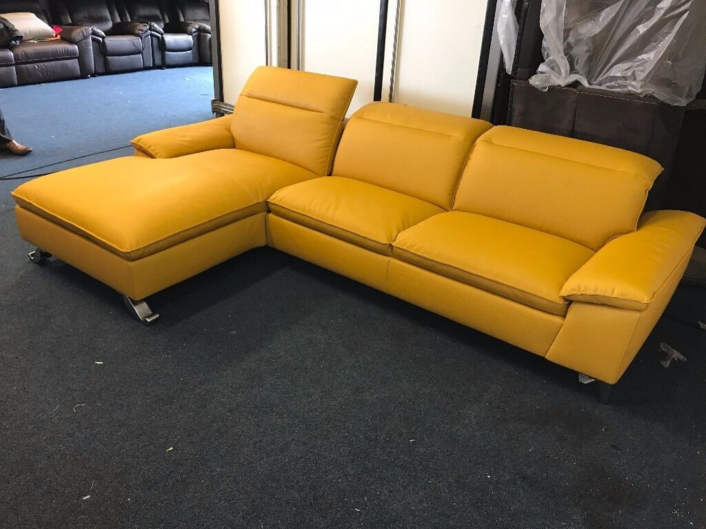 Designer Yellow Real Leather 4 5 Seater Corner Sofa L