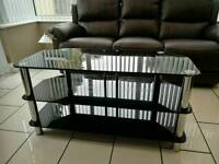 Tv stand black glass chrome legs