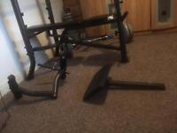 Weight bench with shoulder press, Curl bar and more