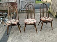 3 x ercol chairs with cushions