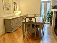 Farmhouse solid wood dining table , 6 chairs and sideboard
