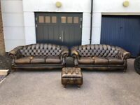 Thomas Lloyd Whisky Brown Leather Chesterfield Suite - 2 x 3-Seater Sofas & Ottoman Footstool