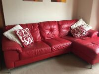 Red Leather Three Seater Sofa with Chaise Longue