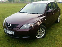 2007 MAZDA 3 1.6 PETROL, 5 DOORS,LOW MILEAGE, FULL SERVICE HISTORY, ONE OWNER, GOOD COND.