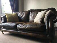 Three seater designer leather sofa