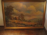 Large framed picture of a country scene Artist name on it