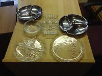 Various glass and metal table ware