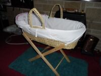 Moses basket for newborn baby for your bedroom as new 5 spare sheets included