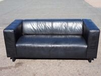 TWO/THREE SEATER COMPACT BLACK SIMILAR TO IKEA KLIPPAN LEATHER SOFA (I CAN DELIVER TODAY)