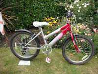 "Girls Raleigh Krush Mountain Bike - 13"" Frame - 20"" Wheels - 6 Gears - Mudguards"