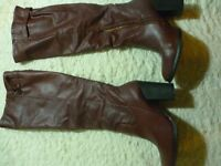 ladies size 5 boots brown high heeled nearly new