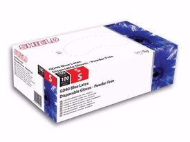SHIELD SMALL POWDER FREE BLUE VINYL GLOVES 1000