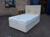 "double divan bed with large bottom drawer & 10"" thick memory foam orthopaedic mattress & headboard"