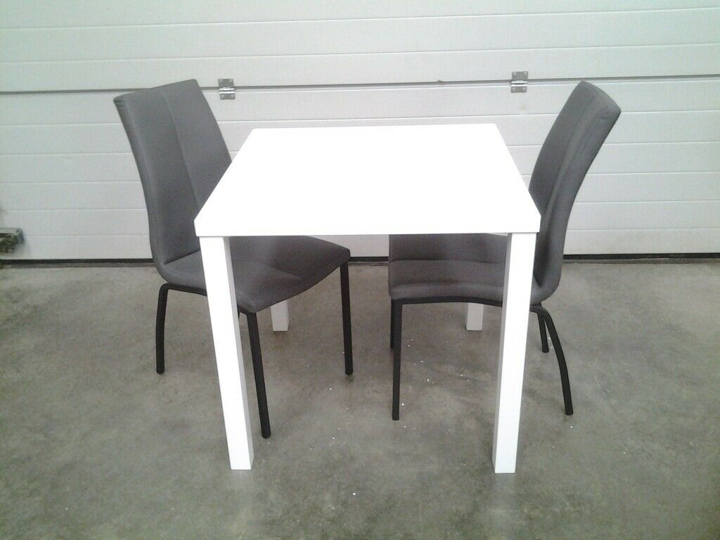 New Small White Gloss Table And 2 Chairs In Grey Faux Leather Bargain Can Deliver Norwich Norfolk Gumtree