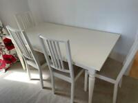 INGATORP white wooden extendable dining table