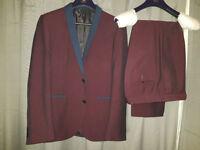 Next 2 piece Suit - Maroon, 42R Jacket, 34 Short Trousers