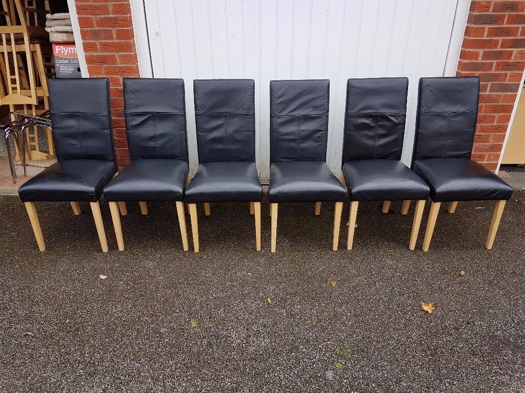 6 Black REAL Leather Chairs Oak Legs FREE DELIVERY 062