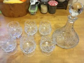 Crystal decanter and six glasses