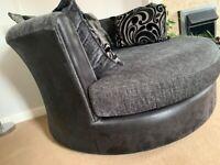 DFS Cuddle Swivel Chair Grey with Cushions