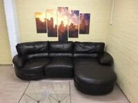 Swivel Brown Leather Corner Sofa