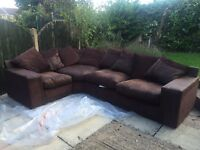 3 PIECE CORNER SOFA **BROWN** USED FOR ONE YEAR INSURED UNTIL 2019.