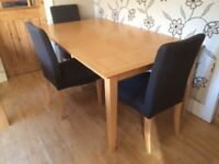 EXTENDING DINING TABLE & THREE CHAIRS