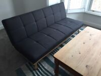Milo 3 Seater Clic Clac Sofa Bed, 80Hx182Wx80D cm, Dark Grey, 2 months old, self collection