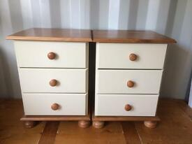 Pair of new pine and cream bedsides