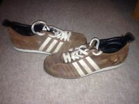 Brown adidas chile 62 trainers size 10