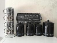 Black kitchen items