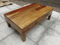 Large Coffee Table Solid Mango Wood With Four Drawers 120 x 70cm - As New